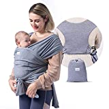 Momcozy Baby Wrap Carrier Slings, Easy to Wear Infant Carrier Slings for Babies Girl and Boy, Adjustable Baby Carriers for Newborn up to 50 lbs, Grey