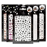 Impressed Nail Art Stickers for Halloween 12 Sheets, 1500+ Self-Adhesive DIY Customized Nail Decals for Halloween Party, Include Pumpkin/Bat/Ghost/Skeleton/Witch etc