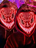 2 Pack Light Up Halloween Mask Scary Costume LED Mask with 3 lighting Modes for Masquerade Cosplay Club Party - Halloween Glowing Mask for Men Women Kids…