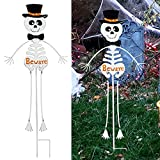 Lulu Home Halloween Yard Stake, 36.2' Metal Standing Skull Wearing Hat Bow Tie, Outdoor Garden Lawn Driveway Yard Sign for Halloween Day of The Dead