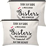 2 Pieces Makeup Bag Sister Gifts from Sister Brother, Personalized Cosmetic Bag Sister Gift for Sister Christmas Birthday Friendship Gifts for Soul Sister, Big Sister, Little Sister (Classic Pattern)