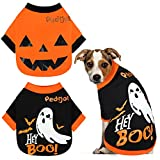 Pedgot 2 Pack Dog Halloween Shirt Soft Cotton Ghost Dog Shirt Halloween Cosplay Pet Apparel Funny Pet Costumes for Dogs Puppy Supplies, Large