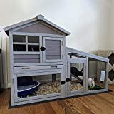 Rabbit House Indoor Outdoor Rabbit Hutch with Ventilation Door,Wooden Bunny cage with No LeakageTray, Removable Bottom Wire Mesh & PVC Layer,Chicken Coop UV Panel