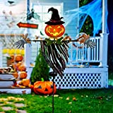 Juegoal 46 Inch Solar Halloween Decorations Yard Stake, Solar Powered Outdoor Lighted Metal Pumpkin Scarecrow Stake, Light Up Pumpkin Lantern Yard Sign for Autumn Haunted House Figurine Party Decor
