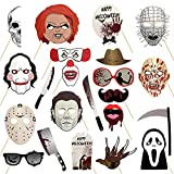 22 Pcs Halloween Photo Booth Props Sign Kit - Spooky Skull Mask Death Day Fiesta Décor - Autumn Fall Friday 13th Halloween Selfie Dress-up Props Decoration