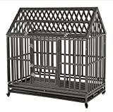 KELIXU 48' Heavy Duty Dog Crate Large Dog cage Dog Kennels and Crates for Large Dogs Indoor Outdoor with Double Doors, Locks and Lockable Wheels, Black