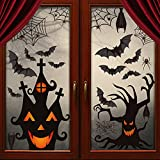 LOAVER 90 Pieces Halloween Window Clings Static Window Stickers with PVC Bats Spider Web Window Decals for Halloween Party Decoration Favors Supplies