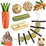 Pweituoet Rabbit Chew Toys, Small Animal Chew Treat - 100% Natural Materials Handmade for Bunny/Chinchilla/Guinea Pig/Hamsters/Rat