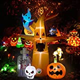 Decorlife 8 FT Halloween Inflatables, Blow up Halloween Decorations Tree with Ghost, Pumpkin, Skeleton and Tombstone, Halloween Yard Inflatables with Built-in LED Lights for Garden, Lawn Outdoor