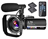 Video Camera Camcorder with Microphone YouTube Camera Recorder 2.7K Ultra HD 20FPS 30.0MP 18X Digital Zoom 3.0' LCD Touch Screen Vlogging Camera