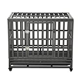 LUCKUP 38 Inch Heavy Duty Dog Cage Metal Kennel and Crate for Large Dogs,Easy to Assemble Pet Playpen with Four Wheels,Black … …