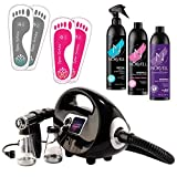 Naked Sun Fascination Spray Tanning Machine System Kit with Norvell Sunless Airbrush Tan Solution and Disposable Adhesive Spa Feet Bundle (6 Items)