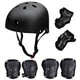 Skateboard/Skate Protection Pads Set with Helmet-SymbolLife Helmet with 6pcs Elbow Knee Wrist Pads for Kids Youths BMX/Scooter/Cycling/Rollerblading for Head L (57-62cm) Black