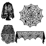 Shan-S Halloween Decorations Set of 4,Halloween Lace Spider Web Table Runner,Round Table Cover,Fireplace Mantle Scarf and Lamp Shades for Festival Ornament Party DIY Haunted House Decoration