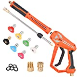 LEXRUSTI Pressure Washer Gun Kit, Power Washer Gun with M22 15mm to M22 14mm Fitting,1/4' Quick Connerctor,17 Inch Pressure Washer Wand, 7 Spray Nozzles Tips, 5 O-Rings,4500 PSI