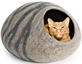 MEOWFIA Premium Felt Cat Bed Cave (Large) - Handmade 100% Merino Wool Bed for Cats and Kittens (Light Grey/Large) - Eco-Friendly Premium and Personal Space for Your Indoor Cats