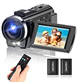 HD Video Camera, toberto Camcorder Video Cameras Full HD 1080P Digital Camera 15FPS 24.0 MP Vlogging Camera Recorder 3.0 Inch IPS Screen 16X Zoom Camcorders YouTube with 2 Batteries, Remote Control