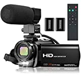 Video Camera Camcorder, 1080P YouTube Camera Full HD 30FPS 24MP Vlogging Camera Recorder 3.0 Inch IPS Screen 16X Zoom Digital Camcorder with Microphone, Remote, 2 Batteries