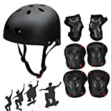 Besmall Adult Adjustable Skateboard Skate Helmet with Protective Gear Knee Pads Elbow Pads Wrist Pads for Youth Outdoor Sports, BMX, Skateboard, Bike, Roller, Kid's Protective Gear Set Black M