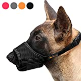 HEELE Dog Muzzle,Soft Nylon Muzzle Anti Biting Barking Chewing,Air Mesh Breathable Drinkable Adjustable Loop Pets Muzzle for Small Medium Large Dogs 4 Colors 4 Sizes