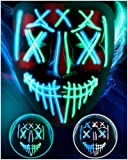 LED Purge Mask Halloween Costume - 3 Modes Scary Light Up Mask for Men Women Kids Glowing Mask for Halloween Cosplay