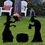 Anditoy Halloween Decorations 2 Black Witches and 1 Black Cauldron Yard Signs with Stakes for Outdoor Yard Lawn Garden Halloween Decor