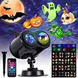 Halloween Projector Lights Outdoor, Christmas Projector Lights, Halloween Lights Outdoor with 16 HD Slides 10 Colors IP44 Waterproof LED, with Remote Control Timer for Halloween, Christmas, New Year