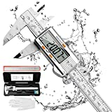 RAGU Digital Caliper Stainless Steel 6 inch, Electronic Vernier Caliper Measuring Tool with Large LCD Display Gauge, Inch/Metric Conversion, 20 cm Steel Ruler and Glove for Household Measuring Tool