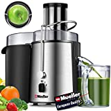 """Mueller Austria Juicer Ultra Power, Easy Clean Extractor Press Centrifugal Juicing Machine, Wide 3"""" Feed Chute for Whole Fruit Vegetable, Anti-drip, High Quality, Large, Silver"""