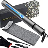 NITION Professional Salon Hair Straightener Argan Oil Tourmaline Ceramic Titanium Straightening Flat Iron for Healthy Styling,LCD 265°F-450°F,2-in-1 Curling Iron for All Hair Type,1 inch Plate,Black