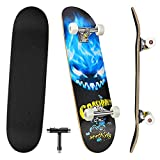 Skateboards for Beginners, 31'' x 8'' Complete Standard Skate Boards with 7 Layers Canadian Maple, Double Kick Concave Skateboards for Kids Youth Teens Man and Women