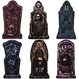 6Pcs Halloween Yard Sign Eye-catching Halloween Yard Decor Spooky Tombstones Signs Designs of RIP Skull Cross Large Size Scary Halloween Decorations in Entrance / Backyard / Lawn / Interior (Set C)