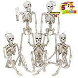 Posable Halloween Skeletons, Full Body Posable Joints Skeletons 5 Packs for Halloween Decoration, Graveyard Decorations, Haunted House Accessories, Indoor/Outdoor Spooky Scene Party Favors