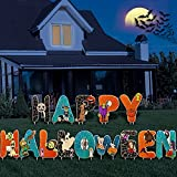 Wmfczzbf 14 PCS Halloween Yard Decorations Spider Webs Yard Signs, Happy Halloween Yard Sign with Stakes Outdoor Decor, Scary Ghost Skeleton Pumpkins Tombstones for Home Lawn Party Supplies