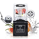 Wantjoin Commercial and home Professional Quiet Shield Blender, 1800W, 75oz BPA Free Jar, 4 Pre-set Programs for Puree, Ice Crushing, Shakes hummus,salsa and Smoothies (black)