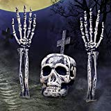 Halloween Decorations, Halloween Skeleton Stakes Set, Realistic Skull Bone Head and Arms Lawn Stakes, Halloween Props, Groundbreakers for Outdoor Indoor Haunted House, Graveyard, Cemetery Lawn Decor