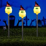 Solar Garden Lights, Set of 3 Outdoor LED Solar Powered Ghost Halloween Pathway Lights Garden Stakes for Outdoor Patio Yard Decorations