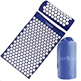 Complete Acupressure Mat and Pillow Set (Blue) with Carry Bag