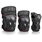 JBM Adult BMX Bike Knee Pads and Elbow Pads with Wrist Guards Protective Gear Set for Biking, Riding, Cycling and Multi Sports: Scooter, Skateboard (Black, Adult)
