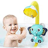 SUNWUKING Baby Bath Toys Electric Shower - Bath Shower Head for Kids Sucker Electric Shower Rain Head Kids Bathing Time Toddlers Game Elephant Animal Toy 4 X 1.5V AAA Required (Not Included)