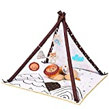 Baby Play Gym Baby Play with Tummy Pillow Stage-Based Developmental Baby Gym and Playmats,Play Gym for Baby, Newborn, Infant Activity Gym with 6 Sensory Animal Toys Teepee Camping Theme