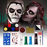 Halloween Makeup Kit Face Paint - Make Up Set Costume for Kids Girls Women Men Face Body Paint Clown Vampire Zombie Special Effect Makeup with Blood Palette Wax for Scary Cosplay Halloween Party