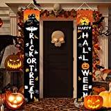 """Halloween Decorations Outdoor Indoor Trick OR Treat Halloween Porch Banners for Door Decor,72.4""""x11.14""""Large Hanging Banners Porch Signs for Home Yard Farmhouse Garden Holiday Party Decoration."""