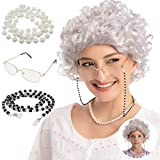 Adult/Child Curly Grey Granny Wig Set with Wig Cap, Glasses, Eyeglass Chain and Pearl Necklace Old Lady Costume Wig Halloween Cosplay Party Accessories
