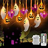 Halloween String Lights, 16.4ft 50 LEDs Halloween Decoration Lights ,3 in 1 Battery Powered with 8 Lighting Modes for Window Porch Stair Indoor and Outdoor Halloween Decor (3 in 1)