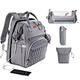 3 in 1 Diaper Bag with Changing Station, ISMGN Large Diaper Bag Backpack for Boy, Diaper Bag Organizer Pouches Insulated Pocket Multifunctional Baby Bag with Mosquito Net and Sunshades, Unisex Stylish