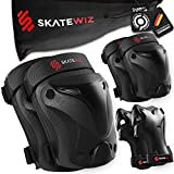SKATEWIZ Skateboard Pads Elbow and Knee Pads Adult - Size L in Black - Wrist Guards for Roller Skating [6pc] Skating Protective Gear Adult and Kids - Adult Skate Pads Adult Set