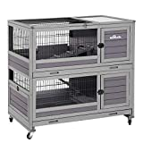 Bunny Hutch Indoor Rabbit Cage on Wheels Outdoor Rabbit House with Deep No Leak Pull Out Tray,Upgrade Version (Gray)