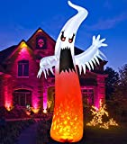 9FT Giant Halloween Inflatable White Ghost Outdoor Yard Decorations, Scary Spooky Halloween Blow up Decor, Built-in LED Lights with Blinking Red Eyes, Holiday Clearance for Garden Patio Festival Party