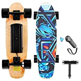 WOOKRAYS Electric Skateboard with Wireless Remote Control, 350W, Max 12.4 MPH, 7 Layers Maple E-Skateboard, 3 Speed Adjustment for Adult, Teens, and Kids (Blue)